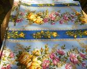 French Boussac Designer Art Print Fabric Pamela by Laurent Stève Blue Yellow Roses Vintage 50's Cotton Canvas Fabric Home Decor Fabric