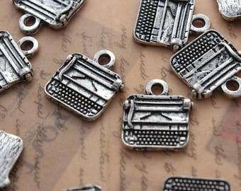 10 Typewriter Charms Typewriter Pendants Antiqued Silver Tone 13 x 12 mm