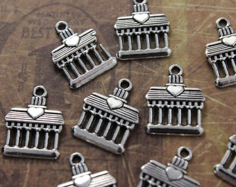 10 Palace Charms Palace Pendants Antiqued Silver Tone 13 x 15mm