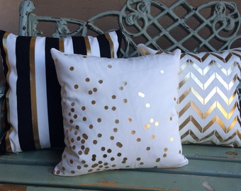 Gold Foil confetti dot pillow cover on medium weight ivory cotton blend- slipcover only