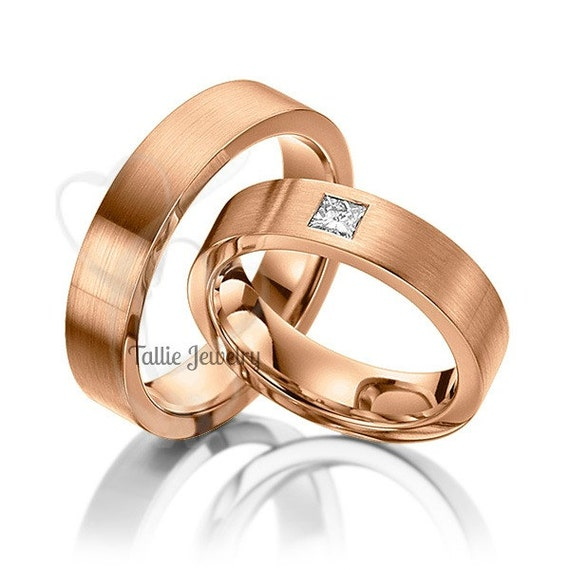 His and Hers Matching Rings Set14K Rose Gold by TallieJewelry