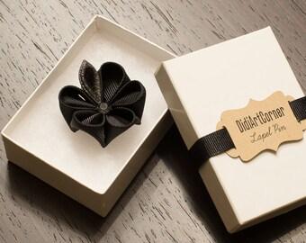 Lapel Pin - Black Kanzashi Flower Lapel Pin with Swarovski Silver Night Crystal