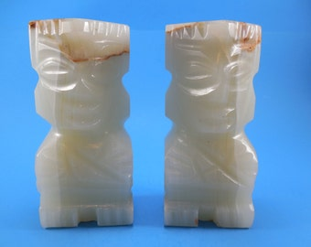 Vintage Carved Onyx Stone Bookends Mexican Aztec Mayan Figurine by Herrera Montiel Mexico