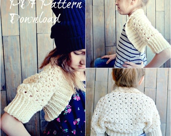 CROCHET PATTERN-Brooklyn Bolero, Childs Shrug Pattern, Girls Crochet Bolero Pattern, Spring Sweater, crochet pattern