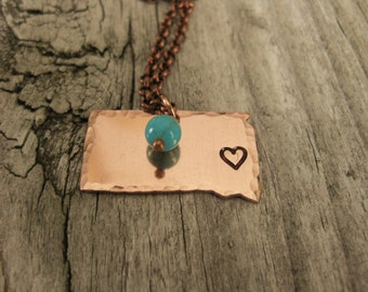 Copper South Dakota Necklace With Heart Hand Stamped Over Sioux Falls~Choose Your City~Personalized