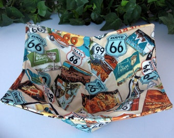 Microwave Bowl Cozy Pot Holder Kitchen Utensil Table Protector Kitchen Accessory Finger Saver Unique Gift  RV Campers Route 66 Fabric