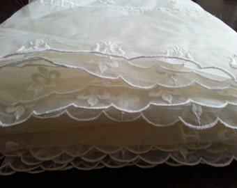 Sheer Large Scalloped Fleur De Lis Tablecloth