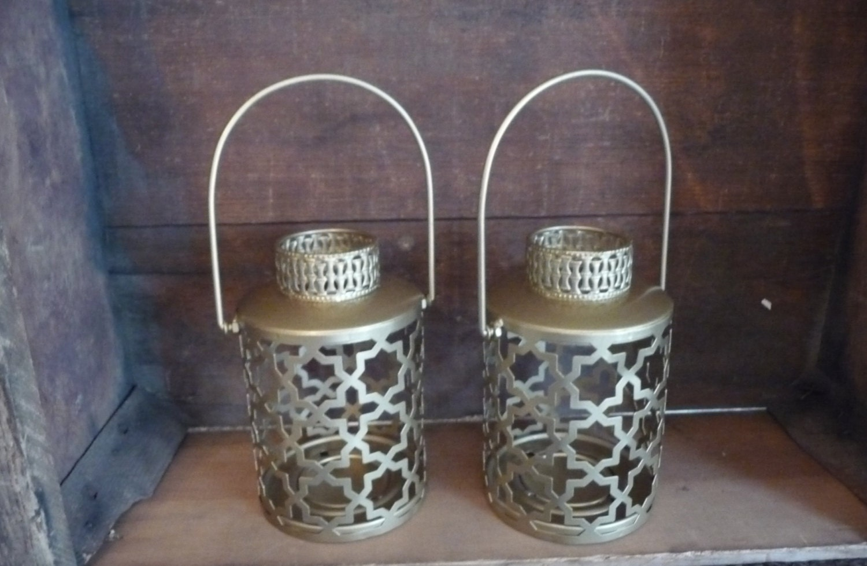 Gold lattice pattern metal lantern ornate candle