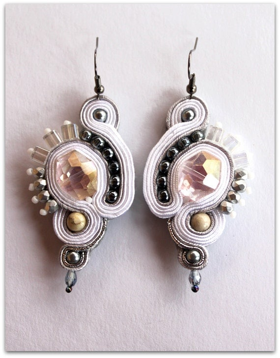 White & silver soutache earrings, HANDICRAFT