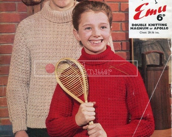"""Boy's and Girl's Sweater DK 28-36"""" Knitting Pattern PDF instant download"""