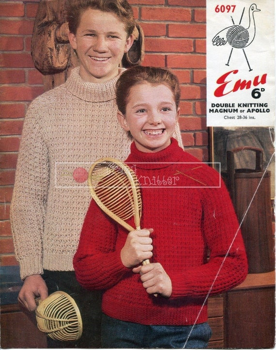 "Boy's and Girl's Sweater DK 28-36"" Knitting Pattern PDF instant download"