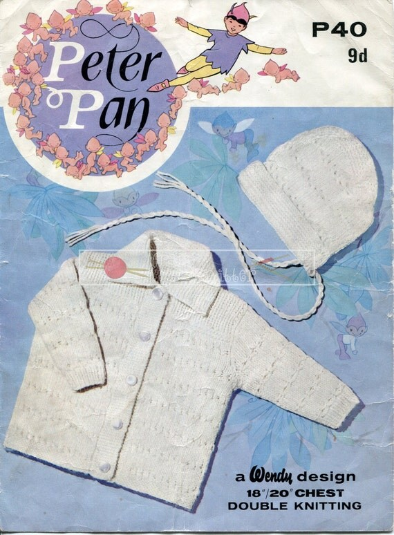 "Baby Coat and Bonnet DK 18-20"" Peter Pan P257 Vintage Knitting Pattern PDF instant download"