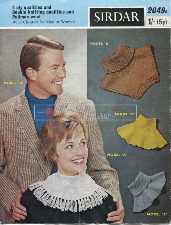 Wind Cheaters Unisex Vintage 4ply Sirdar 2049 Vintage Knitting Pattern PDF instant download