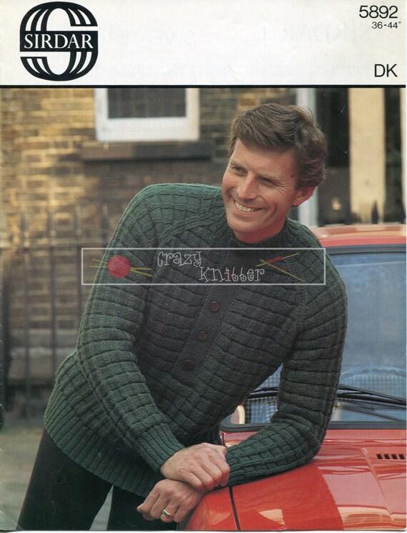 Men's Raglan Sweater DK 36-44in Sirdar 5892 Knitting Pattern PDF instant download