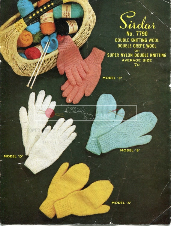 Lady's Gloves and Mittens DK Average Size Sirdar 7790 Vintage Knitting Pattern PDF instant download