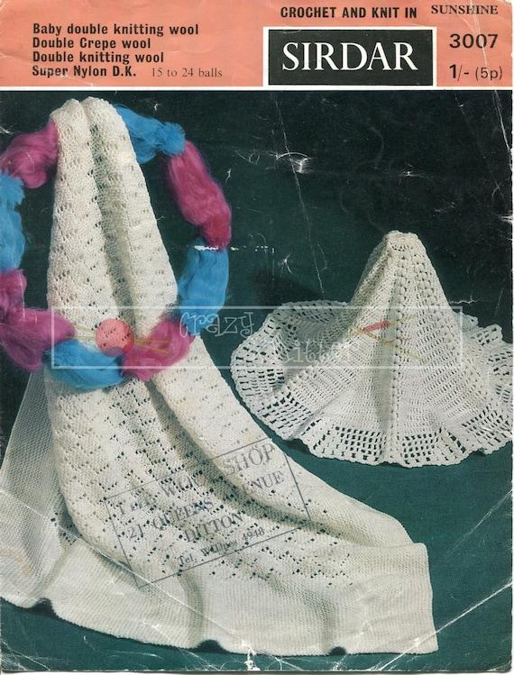 Baby Shawls Pram or Cot Covers DK Sirdar Sunshine 3007 Vintage Knitting and Crochet Patterns