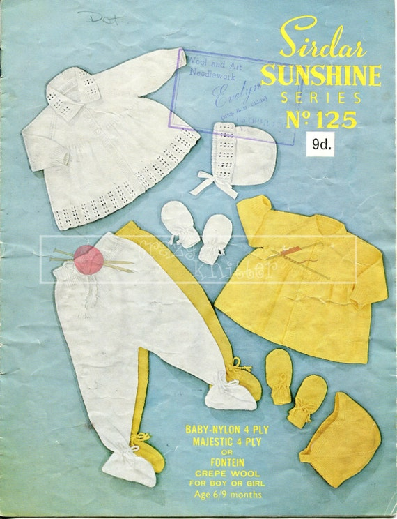 Baby Pram Set 6-9 months 4-ply Sirdar Sunshine Series 125 Vintage Knitting Pattern PDF instant download
