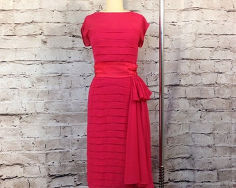 SALE!  1950's Vintage Hot Pink Magenta Chiffon Wiggle Dress with Hip Swag Train Hourglass VLV Size M