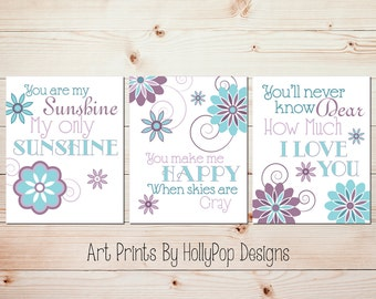 Nursery Wall Decor Girls Room Art Prints You are My Sunshine Purple Aqua Teal Wall Art for Kids Inspirational Song Lyrics Quotes for kids