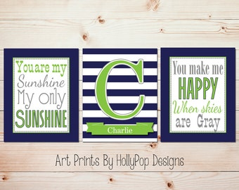 You are My Sunshine Baby Boy Wall Art Navy Lime Green Gray Nursery Decor Boy Nursery Art Prints Personalized Name Print Modern Nursery #1239