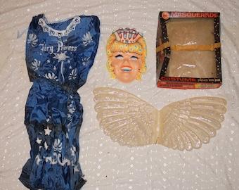 Vintage Halco Masquerade Blue Fairy Princess Halloween Costume in Box Wings