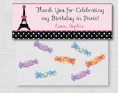 Paris Birthday Party Custom Treat Bag Topper - Favor Treat Bag Labels - DIGITAL DESIGN or HANDCRAFTED