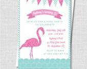 Flamingo Birthday Invitation - Flamingo Themed Party Invite - Pool Party - Digital Design or Printed Invitations - FREE SHIPPING