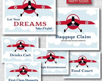 INSTANT DOWNLOAD - Printable Vintage Airplane Party Signs - Airplane Birthday OR Baby Shower - Set of Six Party Signs