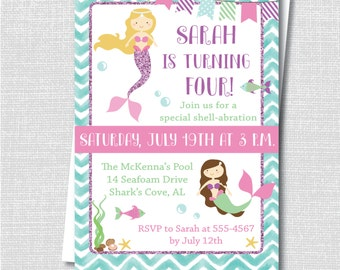 Mermaid Birthday Party Invitation - Ocean Mermaid Theme - Swim Party Invite - Digital Design or Printed Invitations - FREE SHIPPING