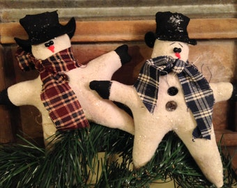 Primitive Christmas Star Snowmen, Set of Two Snowman Star Ornie, Tucks or Ormaments