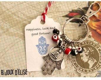 Sale - Yoga Keychain Swastika Buddha Red and Black Keychain with evil eyes beads and Hamsa Bag dangle Spirit Helper