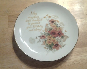 On Sale Lasting Memories Collectible Plate for May Birthdays Wall Decor 1970s Dish