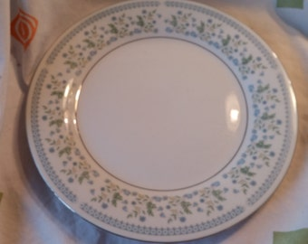On Sale Sea Gull Fine China 10 inch Dinner Plate with Silver Rim and Blue Flowers Cottage Style