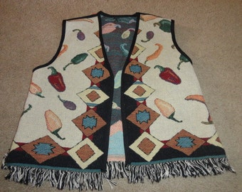 Size Large cotton Vintage sweater vest 46 in bust 25 in length-sweater-ugly sweater- sweater- ugly christmas sweater-
