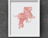 Tampa Art Print -- Hand Lettered Tampa Florida Neighborhood Map Art  -- Florida Typography Print, Florida Gift, Florida Artwork