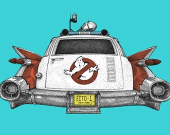 Print from my original illustration of the Ghostbusters Ecto 1 Vehicle