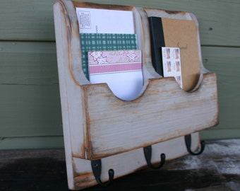 Mail Organizer - Letter Holder - Key Rack - Organizer - wood - Double 3 hook