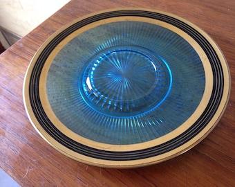 Vintage Pressed Glass Serving Platter