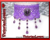 Choker Purple Lace Cabochon Victorian Vintage Elegant Lolita Renaissance Medieval Historical