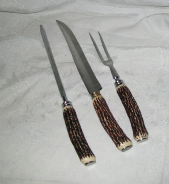 What Does A Carving Knife Look Like: Bakelite Vintage Stag Horn Bakelite 3 Piece Carving Set