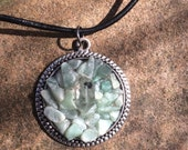Green Aventurine & Herkimer Diamond handmade pendant Metaphysical Magick Energy Pagan Wicca New Age Boho Bohemian Hippie Jewelry