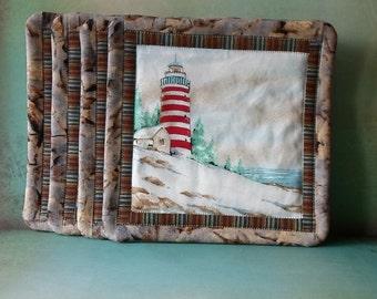 Handmade Cotton Lighthouse Mug Mats
