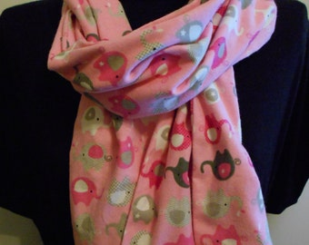 Flannel Scarf,  whimsical pink and grey Elephants. Lots of pink and grey elephants! Ohio made, washable #13