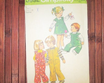 Vintage 1973 Simplicity 5992 Cap Sleeve Rompers & Jumper for Toddlers Size 1