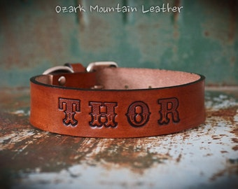 Custom leather dog collar XL size with name made to order