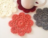 Crocheted Coasters, floral coasters, set of 2