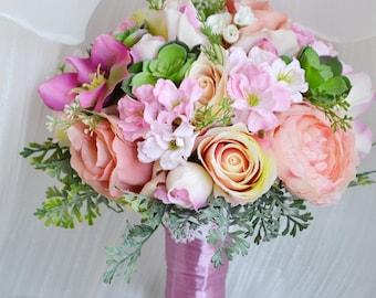 artificial silk flower wedding bouquet scculent rose sacura pink vintage style