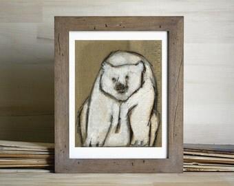 Polar Bear Giclee Art Print, polar bear wall art, bear painting, thepaintedgrove