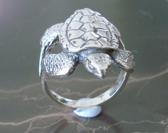 Solid 925 Sterling Silver Turtle Ring