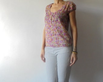 Vintage Blouse. Summer Top.Cotton Blouse.